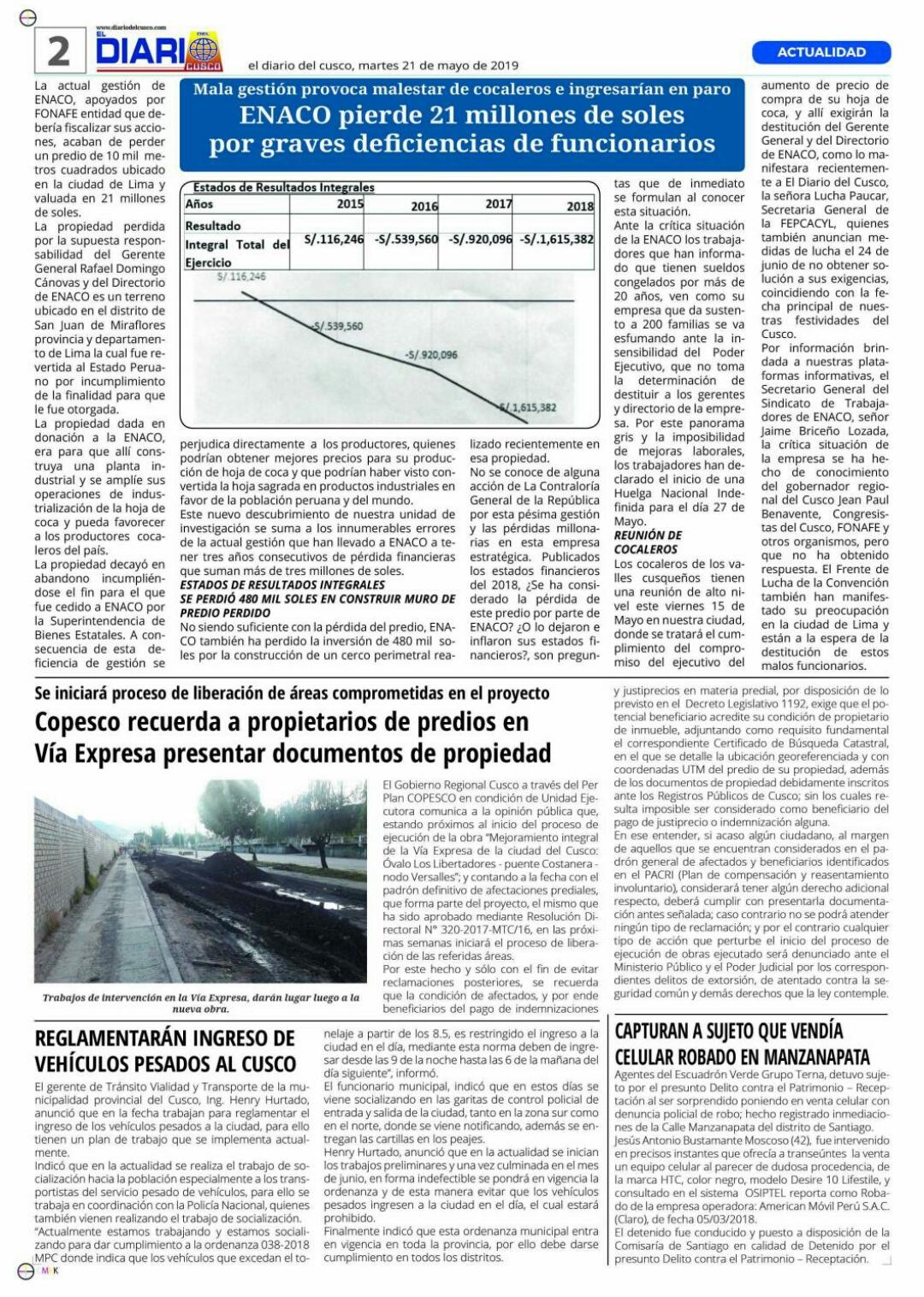 Pésima gestión en ENACO pierde predio de 21 millones