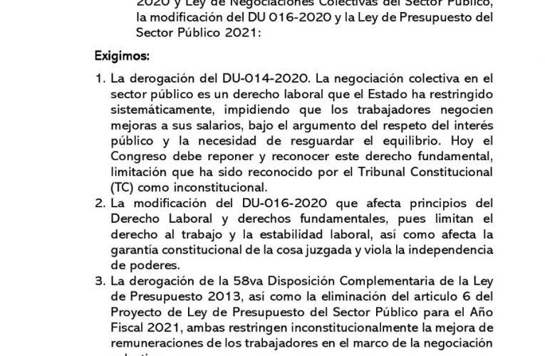 FDTC Pronunciamiento al Pleno del Congreso sobre DU 014-2020, DU 016-2020 y Ley de Presupuesto